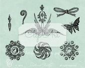 Antique Bling Jewelry Vintage Brooch Earring 8 PNG Clip Art Elements