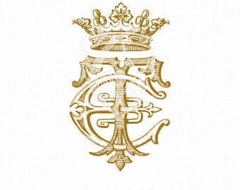 Monogram Crest Antique Monogram ET TEM Initials Logo with Crown PNG CliP aRt download Wedding Logo