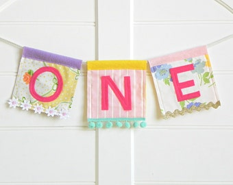 Festival One Highchair Banner / Whimsical and Handmade First Birthday Girl Decorations / One Birthday Sign / First Birthday