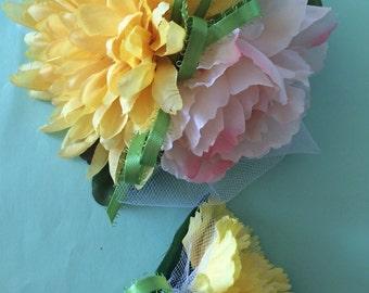 Wrist Corsage Boutinierie Set Yellow Carnation Peony Light Pink Silk Lime Green Handmade