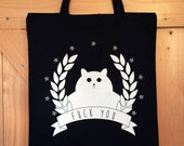 Rude Cat bag - Black Tote Bag - Funny Reusable Shopping Bag - Cotton Grocery Accessory - Tote Bag - White Cat
