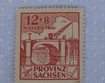 12 8 Wiederaufbau Provinz Sachsen Occupied Germany Stamp, Red