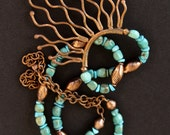 Hill Tribe Copper Pendant Necklace Organic Design with American Mined Turquoise and Copper  Artisan Gemstone Jewelry