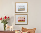 float framed original paintings - Red Poppies- home decor - a 2 piece wall group