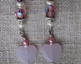 Earrings VERY pink and feminine Valentines Hearts Crystals
