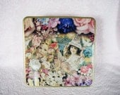 VICTORIAN SQUARE TIN Sewing Cookies Baked Goods Girl Flower Floral Pink Rose Pearl Necklace Jewelry Cherub Angel Dollhouse Graphic Storage
