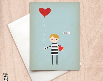 Boy with Balloon Hello Greeting Card