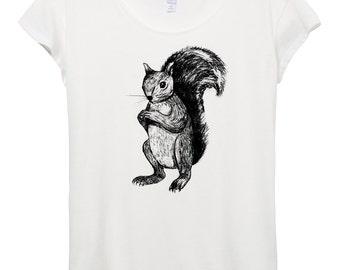 Squirrel Drawing Shirt - Funny Squirrel Shirt - Womens Origin Cotton Modal T-Shirt -  Small, Medium, Large, XL
