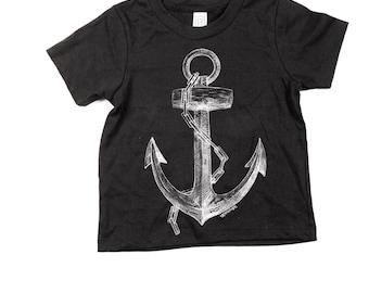 Childrens anchor Tshirt  - kids pirate tee - Black - Sailor - Ocean - Nautical - Organic Cotton -  Kids - Small, Medium, Large - Boy - Girl