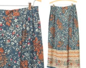 Vintage Wrap Skirt * 90s Rayon Skirt * French Floral Skirt * Large