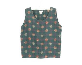 Vintage Silk Blouse * 90s Tank Top * Floral Plaid Shell Shirt * Large