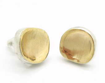 Silver & brushed gold stud earrings