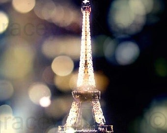 Eiffel Tower Print, Paris Photography, Night Sky, Black, Gold, Purple, Bokeh, Lights, Paris Print