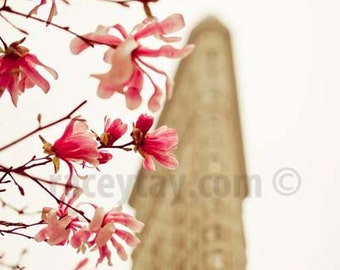 Photo of Flatiron Building, New York Print, Beige, White, Pink, Magnolias in Spring, New York Photography Large Wall Art