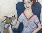 Folk art painting portrait woman yellow dog acrylic figurative expressionist original on cradled hardboard