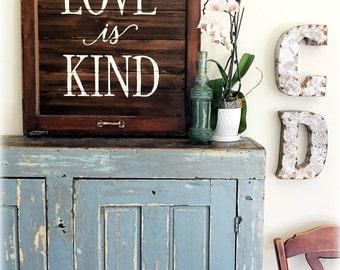LOVE is KIND- Reclaimed Barn Wood Sign- Antique Window Frame- Corinthians Bible verse- OOAK