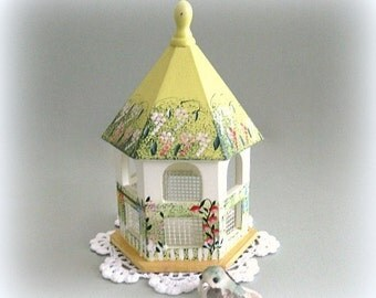 Fairy Garden Accessory Fairy Accessory Baby Nursery Bird House Miniature Garden Birdhouse Dollhouse Garden Furniture Baby Room Bird Gazebo