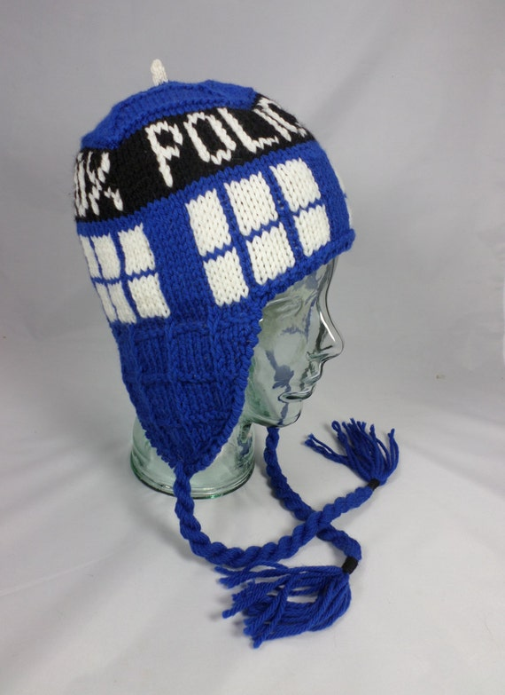 Knitting Pattern Tardis Hat : Dr. Who TARDIS Earflap Hat by angoraamore on Etsy