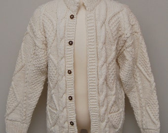 1950-60s men's cream cable knit sweater cardigan/ 50-60s men's cable knit sweater