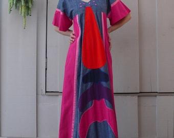 Vintage Mexican Folk Art 1960's Cotton Patchwork Victor Camarena Embroidered Maxi Dress S/M