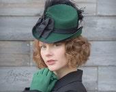Green Tilt Top Hat Victorian Steampunk Style