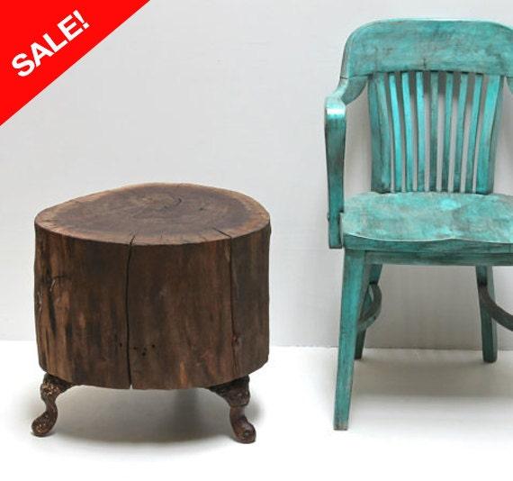 Cast Iron Table Legs For Sale: SALE Walnut Stump Table Vintage Cast Iron Legs By