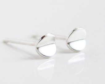 Tiny Sterling Silver Circle Stud Earrings - Mini 4mm Bent Circles - Nickel Free Studs - Lightweight and Everyday Earring by Hook & Matter
