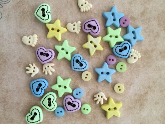 "Baby Buttons and Embellishments ""Baby Shapes"" Style 4422 by Buttons Galore, Includes Hands, Feet, Stars, Hearts, Sewing, Crafting Buttons"