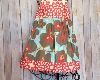 Boutique Girls morning glory red laceworks knot dress, size 6mos-8, girls spring dress, baby dress