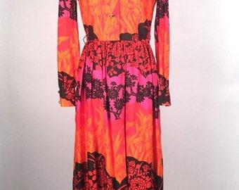 Vintage 1970s Dress, Women's Maxi Dress, Fuschia, Orange, Black, Floral Graphic, Cotton , Rhinestone, Long Sleeve, California Calliope