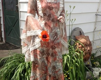 Vintage 1970's Lace Trimmed Maxi Dress w/HUGE Angel Sleeves-Stevie Nicks Boho Hippie Dress SZ LG