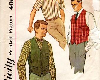 1960s Men's Sports Shirt & Vest - Vintage Pattern Simplicity 3547 - Size 40