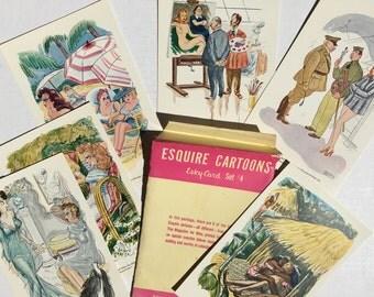 WWII Era Esquire Cartoons - 6 Esky Cards - 40s risqué cartoons