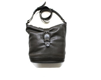 Vintage Leather Bucket Bag / Leather Hobo Bag / Cross Body Purse