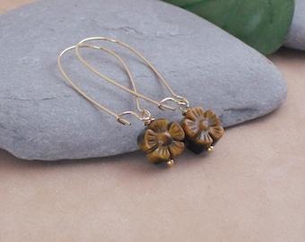 Earrings Carved Tigereye Flower Earrings, Simple Everyday Earrings, Stone Dangle Earrings, Brown Stone Earrings