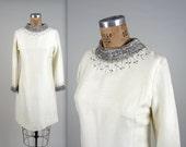 1960s beaded shift dress • vintage 60s dress • white cocktail dress
