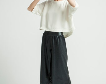 Black Faux Leather Culottes / Wide Vegan Leather Capris / Oversized Pants / Loose Fitting Pants / Marcellamoda - MP0253