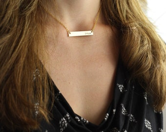 SALE - Personalized Bar Necklace - Bridesmaid Gift - Gold Bar Necklace - Birthday Gift - Gold Necklace-Secret Sister Gift-Dainty Bar