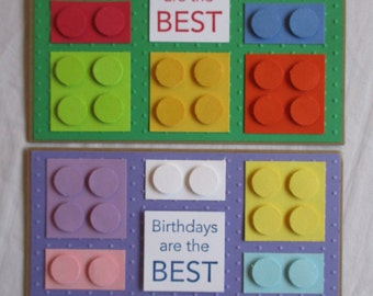 Set of 2 Lego Themed Happy Birthday Handmade Girl or Boy Colored cards
