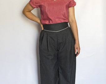 Grey Wool Pinstripe Wide Leg Trousers - Made By Dig For Victory!