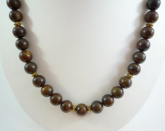 Bronzite Necklace Gemstone Necklace Bronzite Gemstone Necklace Dark Brown Bead Necklace Golden Brown Gemstone Necklace Bronzite Strand