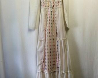 Ivory Voile Cotton Peasant Dress