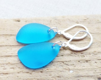 Sea Glass Earrings, Aqua Blue Seaglass Earrings, Sea Glass Jewelry, Light Blue Sea Glass Dangle Earrings, Ocean, Beach Jewelry, Gift For Her