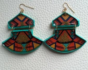 Geometric Fan Earring in Mint