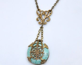 Turquoise Pendant Necklace, Antique Brass Turquoise Necklace, Filigree Art Necklace, Blue Gemstone Necklace, Filigree Wrapped Necklace
