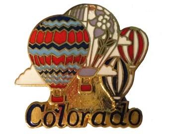 COLORADO STATE vintage enamel pin lapel cloisonne CO Hot Air Balloons