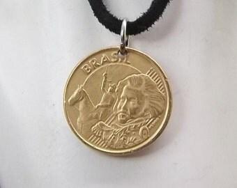 Brazil Coin Necklace, 10 Centavos, Coin Pendant, Leather Cord, Men's Necklace, Women's Necklace, 2004