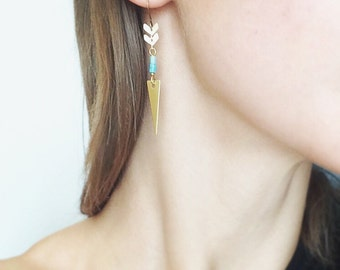 CIVAL Collective - Ezra   Golden Arrow Earrings   Turquoise   Feather Drops   Dagger Shape Brass   Simple Basic Jewelry   Modern
