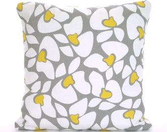 Gray Yellow White Pillow Cover Decorative Throw Pillow Cushion Storm Grey Yellow White Helen Couch Sofa Bed Pillows Decorative ALL SIZES