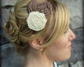 Taupe and Ivory Double Folded Rose Headband for Women and Girls